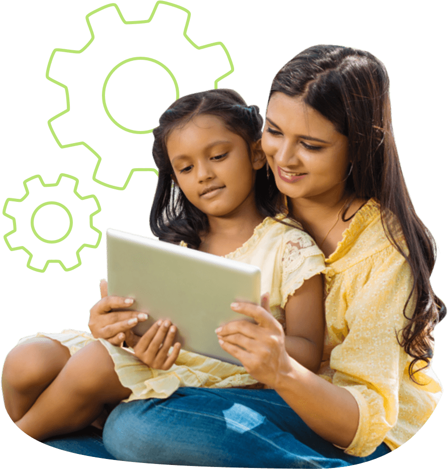 Child with parent on tablet TALi TRAIN